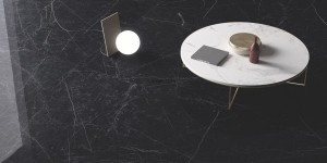 Large Format Porcelain Slab Dark Marquina - polished - 300 cm x 150 cm x 0,6 cm