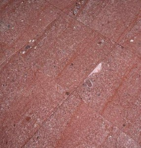 Red porphyry-  paving and road slabs 50x50x8cm