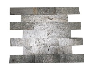 Decorative Quartzite Stone Silver Shine Brick 10x30  (1)